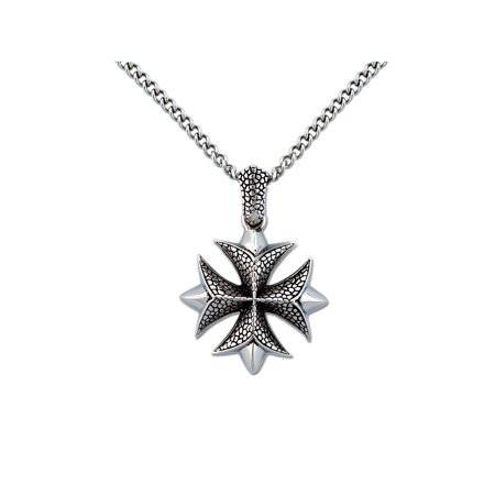 Men's Stainless Steel Iron Cross Pendant, 24