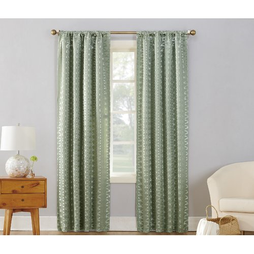 Sun Zero Atticus Metallic Damask Max Blackout Thermal Rod Pocket Single Curtain Panel