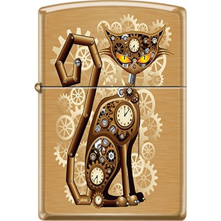 Zippo Brushed Brass - Zippo Industrial Machinery, Cat With Gears, Steam Punk, Brushed Brass Lighter