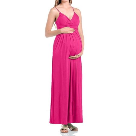 Beachcoco Women's Maternity Sweetheart Party Maxi Dress (S, Hot Pink) ()