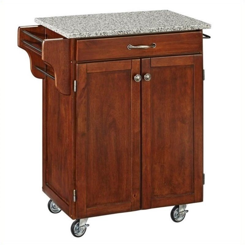 Hawthorne Collections Granite Top Kitchen Cart in Cherry