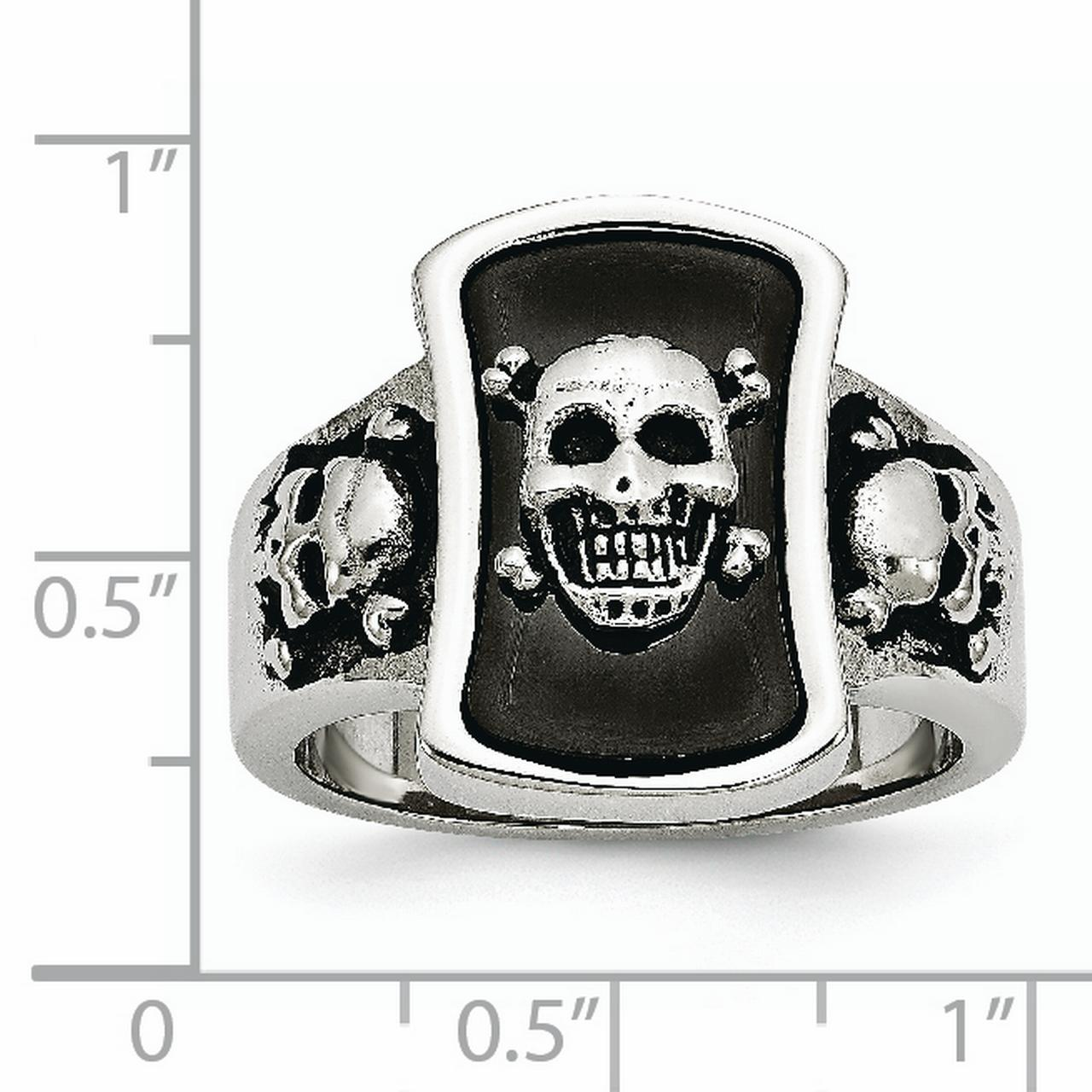 Stainless Steel Black Plated Skulls Band Ring Size 9.00 Skull Fashion Jewelry Gifts For Women For Her - image 5 of 7