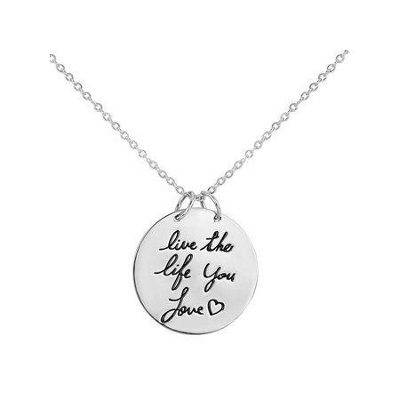 (Sterling Silver Live The Life You Love Round Disc Necklace 18 Inch)
