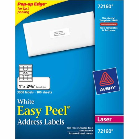 avery easy peel white address labels laser 5160 walmart com
