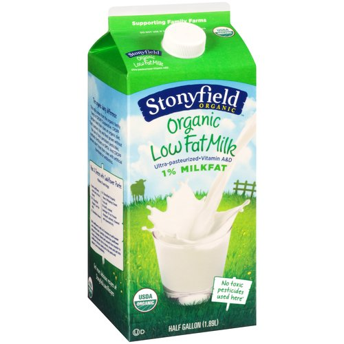 Stonyfield Organic Low Fat Milk, 0.5 gal