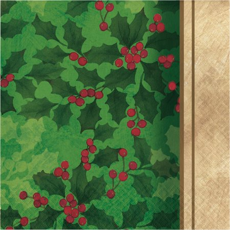 Ivory Holly - Club Pack of 432 Green and Ivory Gilded Holly 2-Ply Lunch Napkin 12.875