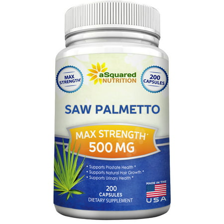 Asquared Nutrition Saw Palmetto Supplement For Prostate Health  200 Capsules    500Mg Max Strength Extract   Berry Powder Complex To Reduce Frequent Urination  Dht Blocker  Natural Herbal Pills