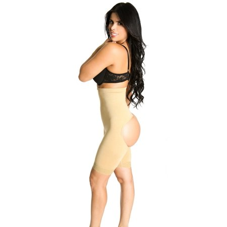 Nude Body Suit (SHAPEX High Waisted Butt Lifter Thigh Control Laced Booty Lift BodyShaper Bodysuit 3 In 1 Thigh and Tommy Control Nude)