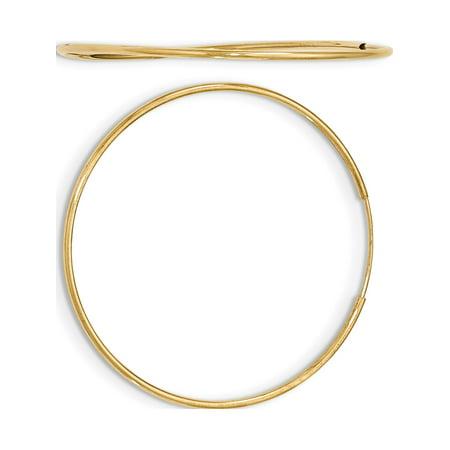 Polished Yellow Gold Hoop - 10k Yellow Gold Polished Endless Tube Hoop (1.2x46mm) Earrings
