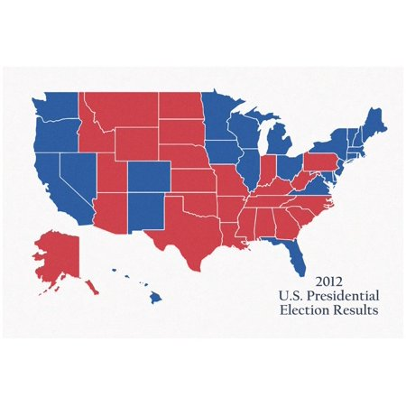 2012 US Presidential Electoral College Map Poster -