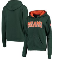 Miami Hurricanes Women's Arched Name Full Zip Hoodie - Green