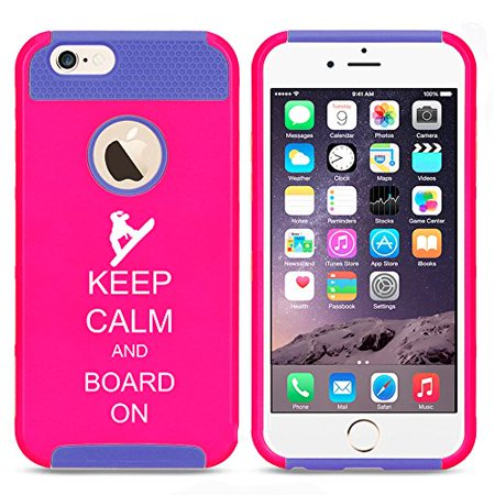 Snowboard Hard Case (For Apple (iPhone 8) Shockproof Impact Hard Soft Case Cover Keep Calm And Board On Snowboard (Hot Pink-Blue))