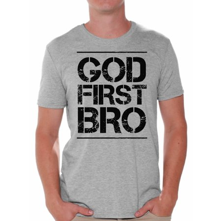Awkward Styles God First Bro T-Shirt for Men Christian Mens Shirts Christian Clothes for Men Jesus Christ is the Lord Christian Birthday Gifts Jesus Shirts Jesus Clothing God First Bro Mens Shirt ()