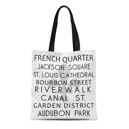 ASHLEIGH Canvas Tote Bag Subway New Orleans Destination Louisiana French Quarter Fleur Lis Reusable Handbag Shoulder Grocery Shopping Bags - Fat Quarter Purse