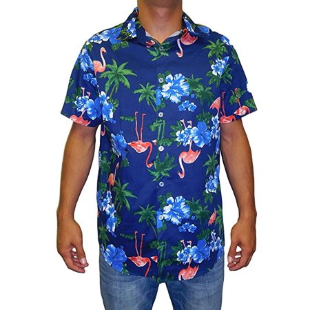 Old Navy Button Front Shirt (Men's Hawaiian Aloha Traditional Flamingo  All-Over Print Button Down Shirt - Made in USA (Navy)  (SMALL)  W26)