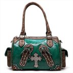 Ritz Enterprises CRL004-GN Western Belted Rhinestone Crystal Flip Flop  Satchel Bag, Green