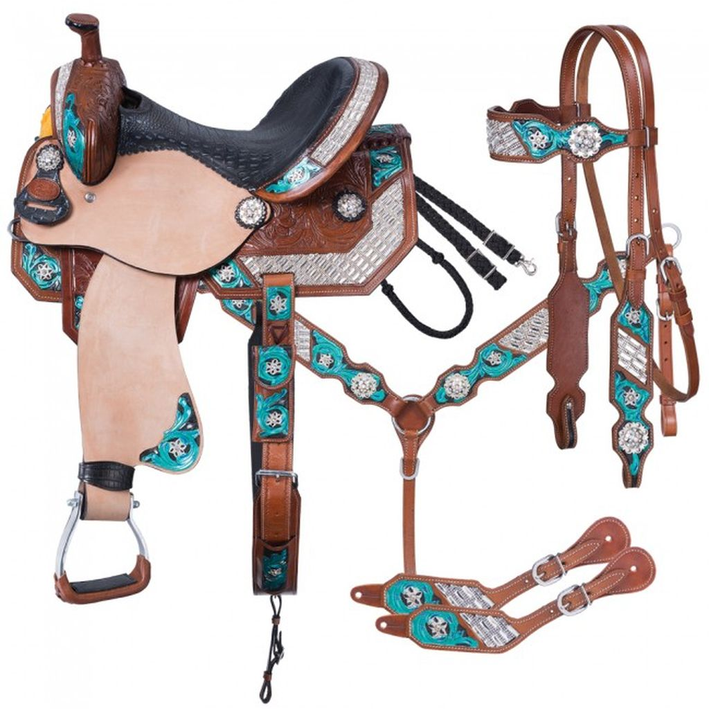 Tough-1 Saddle Ashton Barrel 5 Piece Package Equine Tack 9SR788