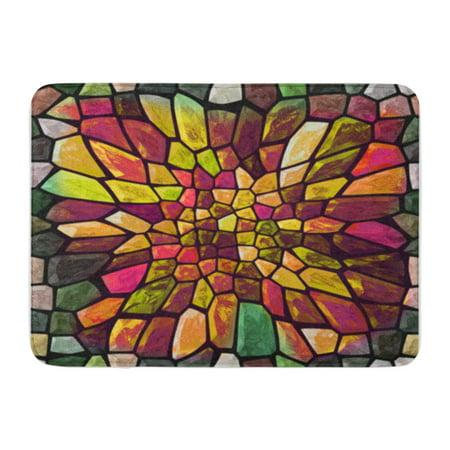 Ceramic Bathroom Floor - SIDONKU Colorful Abstract Mosaic Color Big Gap Bending Block Ceramic Doormat Floor Rug Bath Mat 23.6x15.7 inch