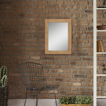 Mirror Frame Mount - Stonebriar Rustic Rectangular Natural Wood Frame Hanging Wall Mirror with Attached Mounting Brackets