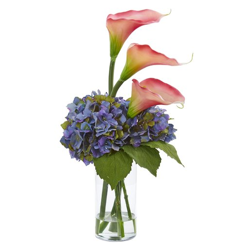 Charlton Home Artificial Calla Lily and Hydrangea Floral Arrangement in Vase