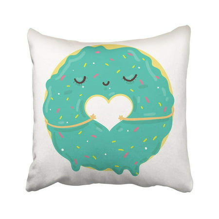 WOPOP Cute Blue Icing Cartoon Donut With Heart And Face Valentine's Day Party Prints Pillowcase Pillow Cover 18x18 - Donut Valentine