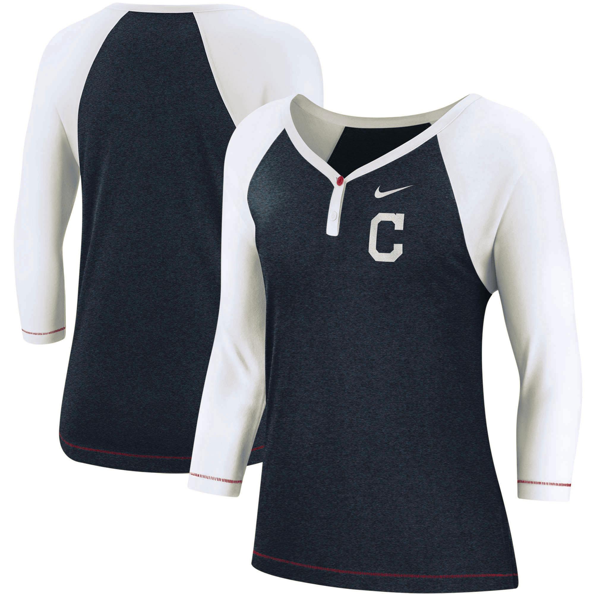 Cleveland Indians Nike Women's Henley 3/4-Sleeve Raglan Tri-Blend Performance V-Neck T-Shirt - Navy