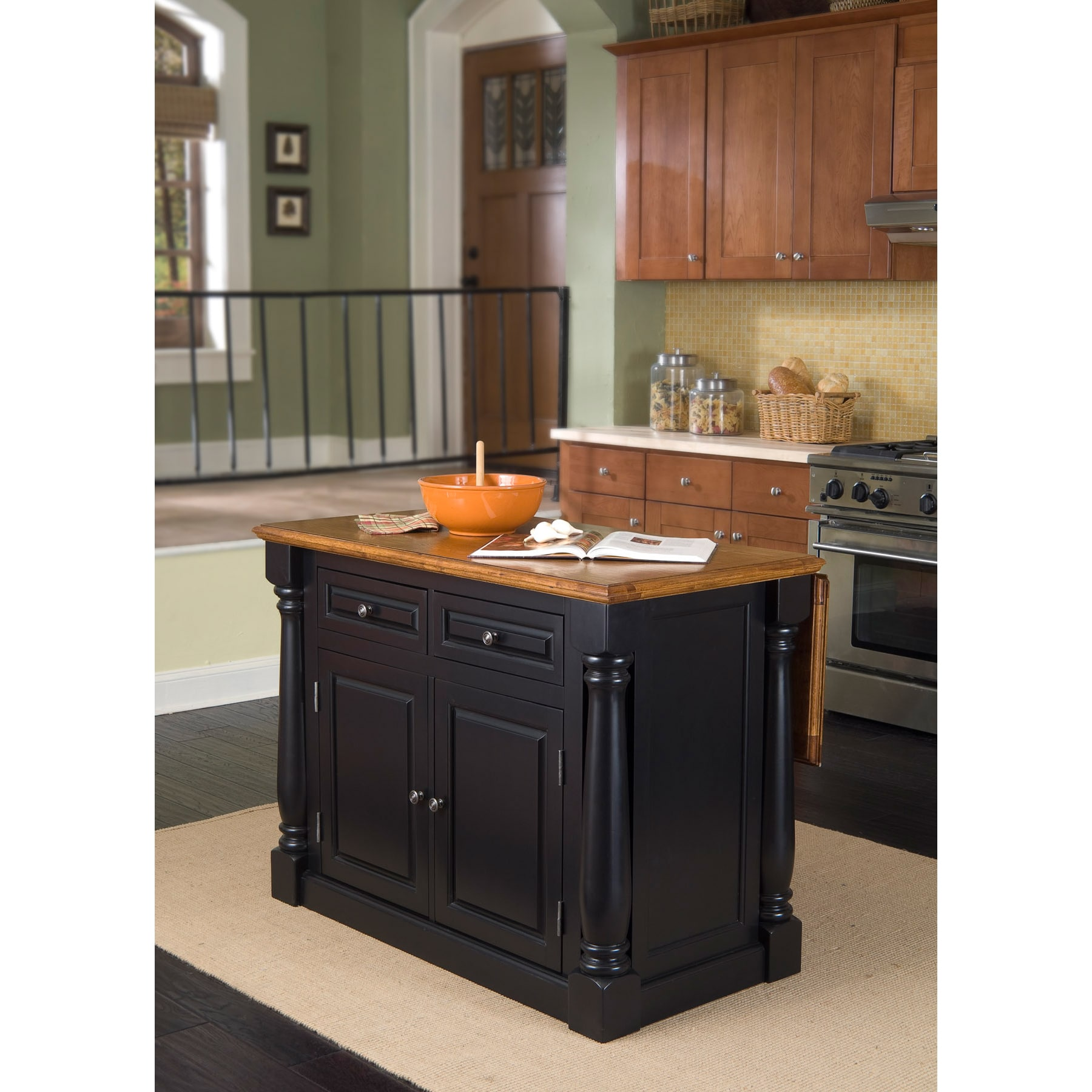 Home Styles Monarch Island Distressed Black & Oak Finish by