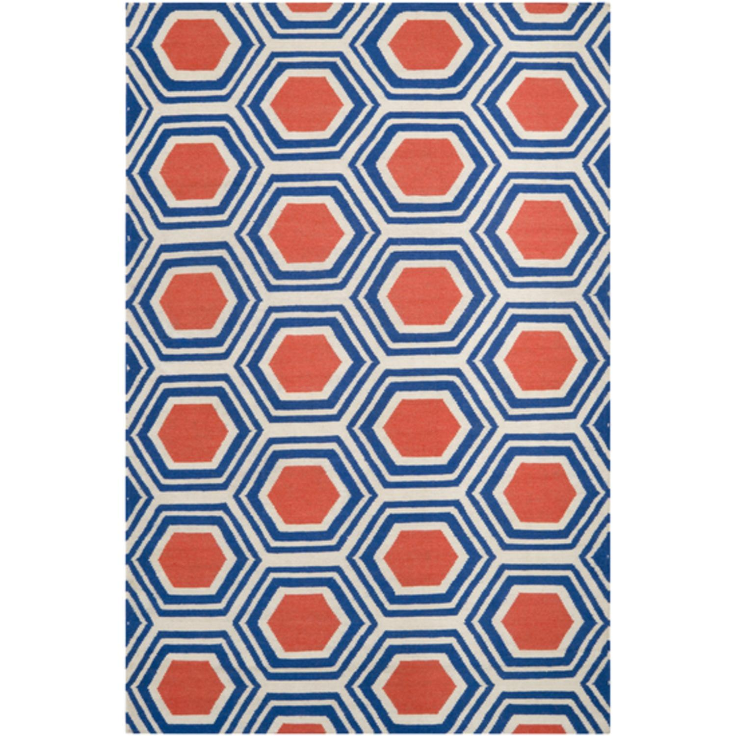 3.5' x 5.5' Retro Octagon Poppy Red and Blue Wool Area Throw Rug