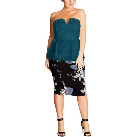 9f991cea191 City Chic Womens Plus Pleated Bustier Strapless Top - Walmart.com