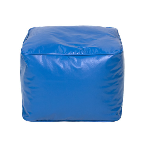 "Small 15"" Blue Faux Leather Ottoman"