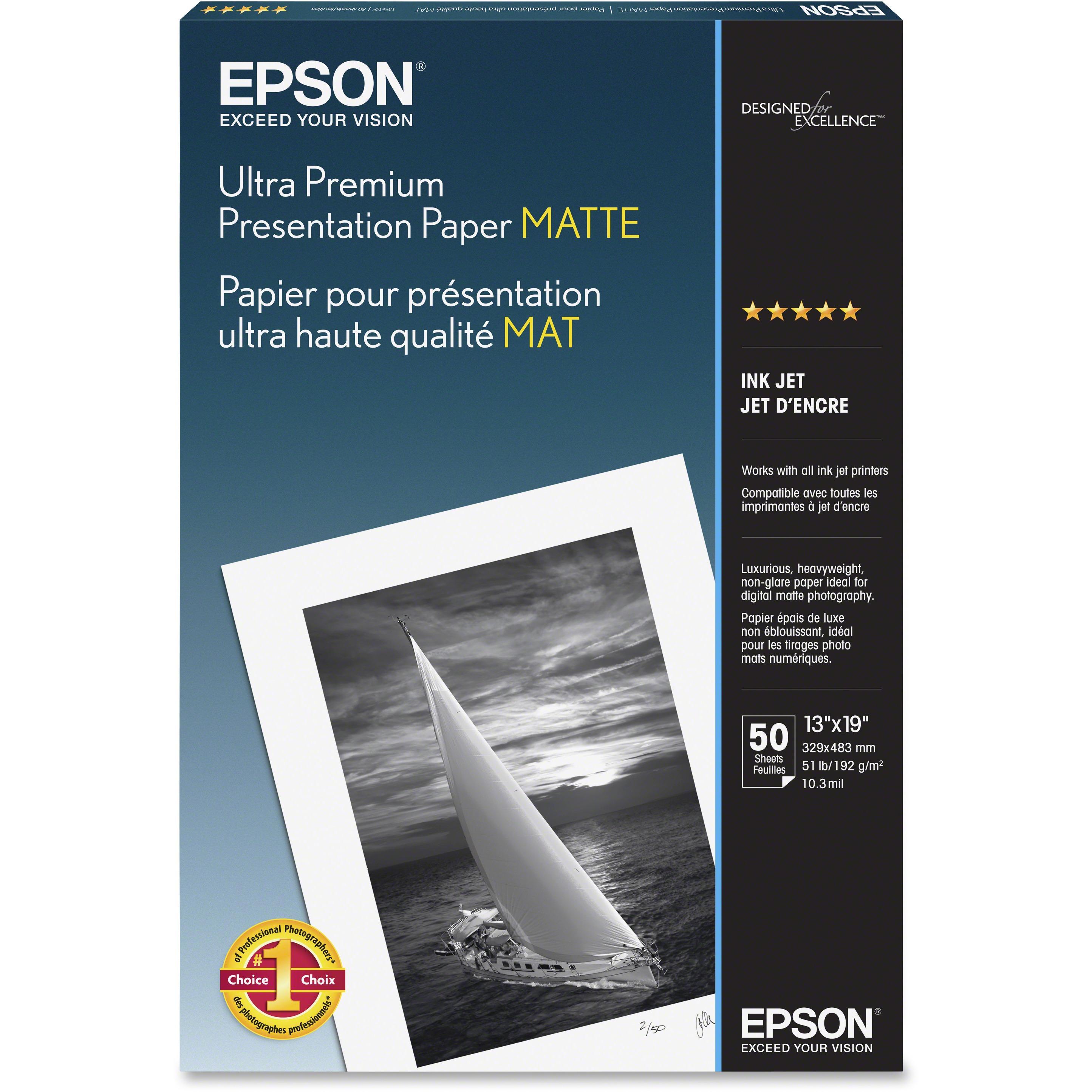 Epson, EPSS041339, Ultra Premium Matte Presentation Paper, 50 / Pack, White