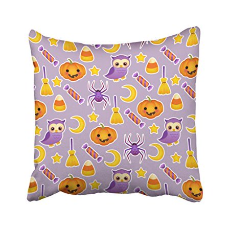 WinHome Cute Halloween Pumpkins Owls Spiders Stars Pattern Throw Pillow Covers Cushion Cover Case 18x18 Inches Pillowcases Two Side - Owl Halloween Pumpkin Patterns