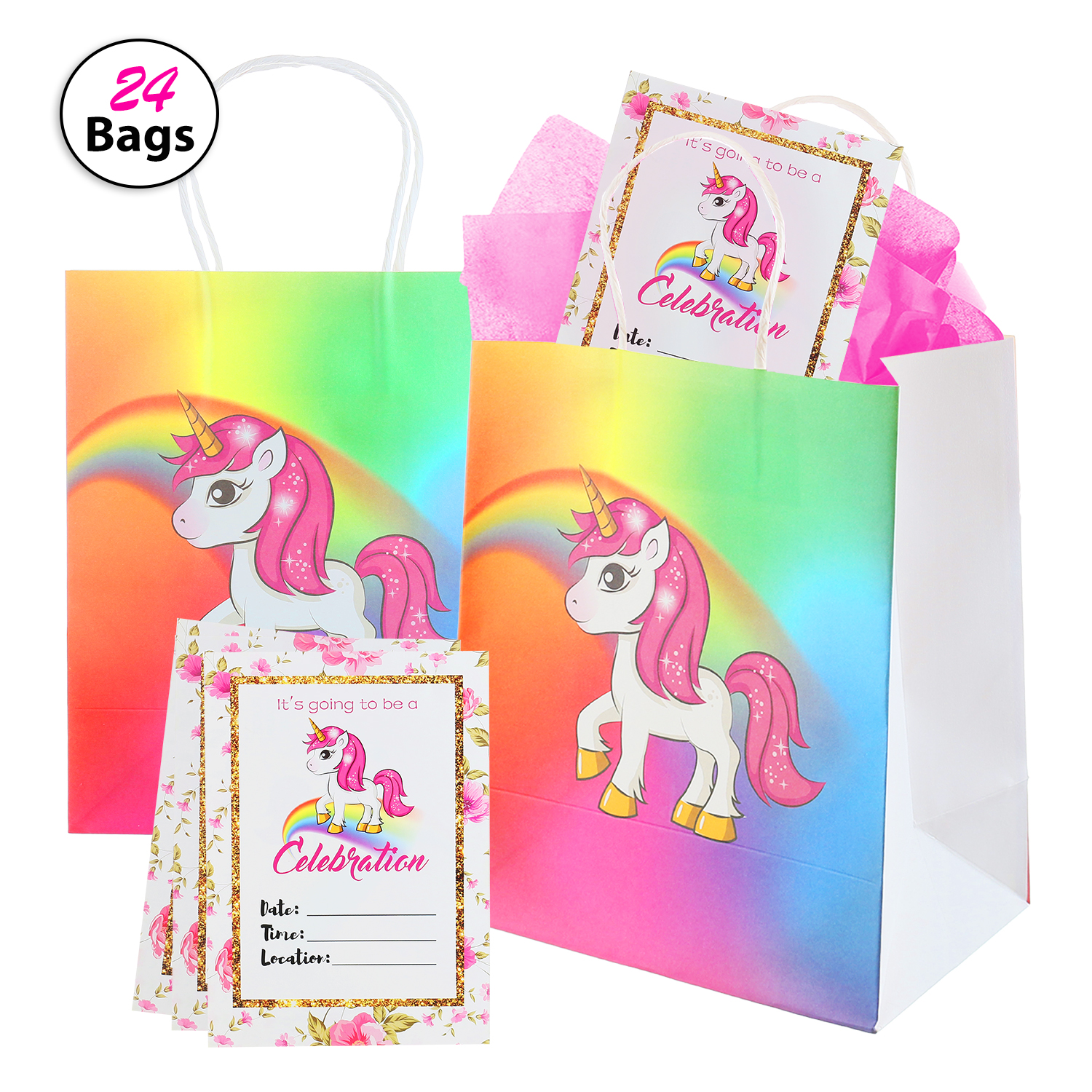 Set of Unicorn Paper Gift Bags and Birthday Party Invitations | Party Decorations and Supplies for Girls | Includes 24 Unicorn Party Favor Bags + 24 Invite Cards | Extra Durable Paper Materials