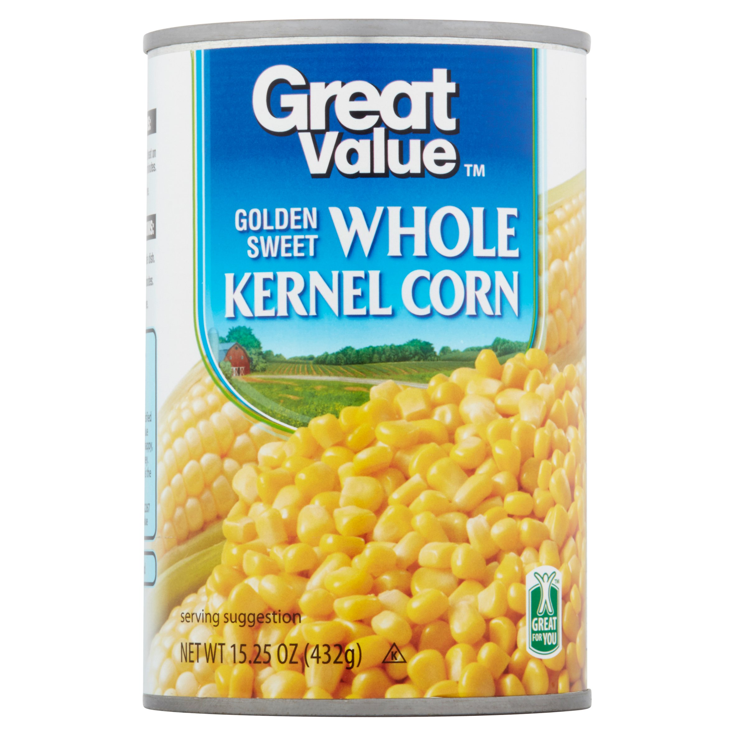 Great Value Golden Sweet Whole Kernel Corn, 15 oz
