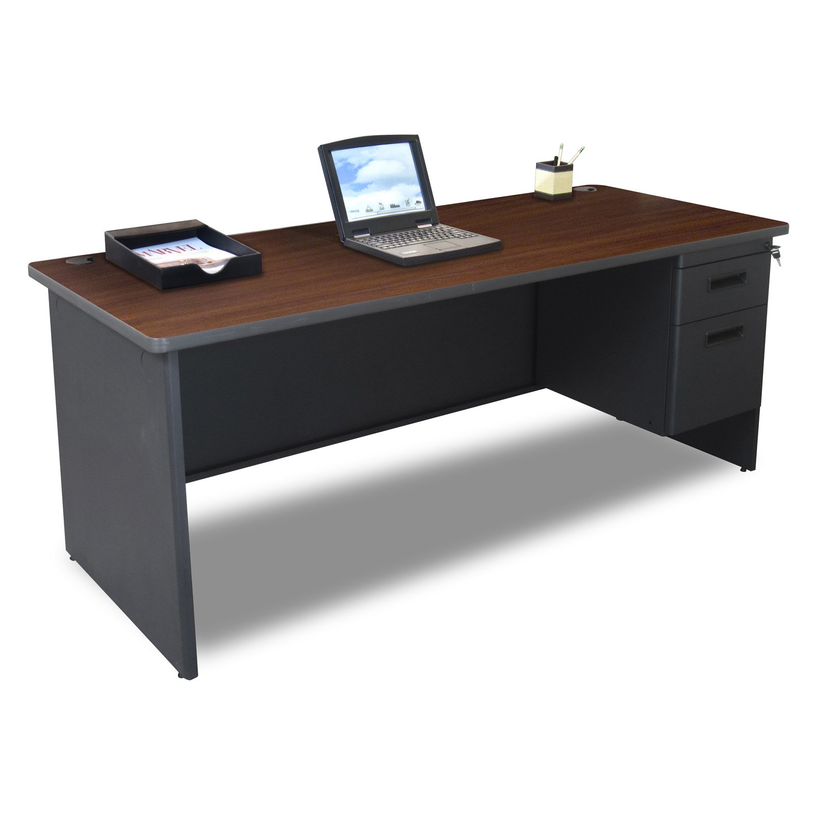 Pronto Single Pedestal Desk MVLPDR7230SPDTMA