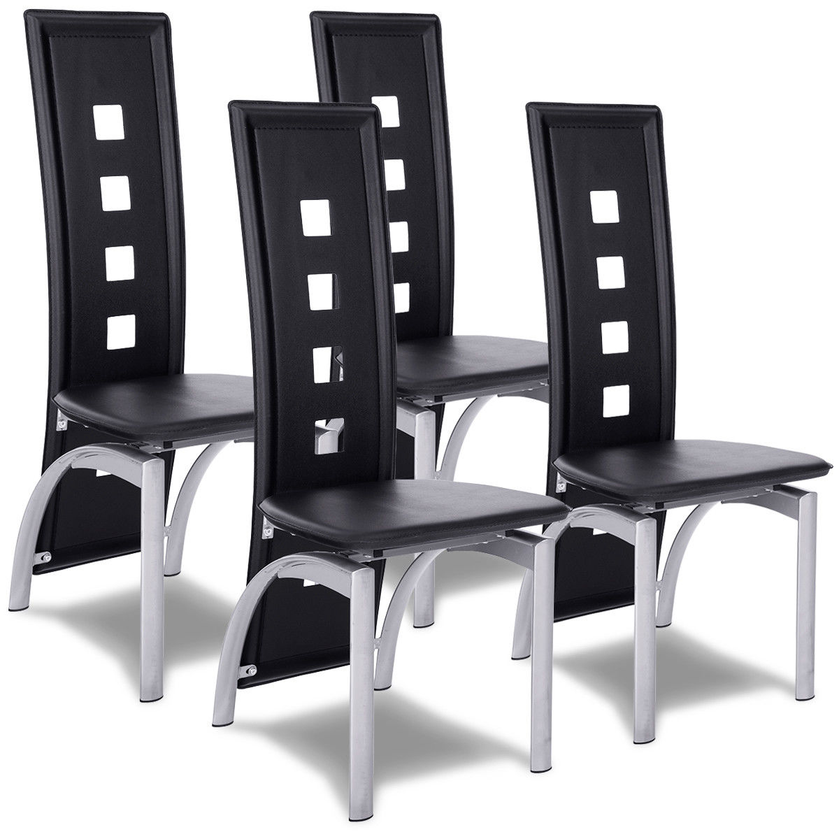Modern Dining Chairs Cheap: Costway Set Of 4 Modern Dining Chairs High Back Side