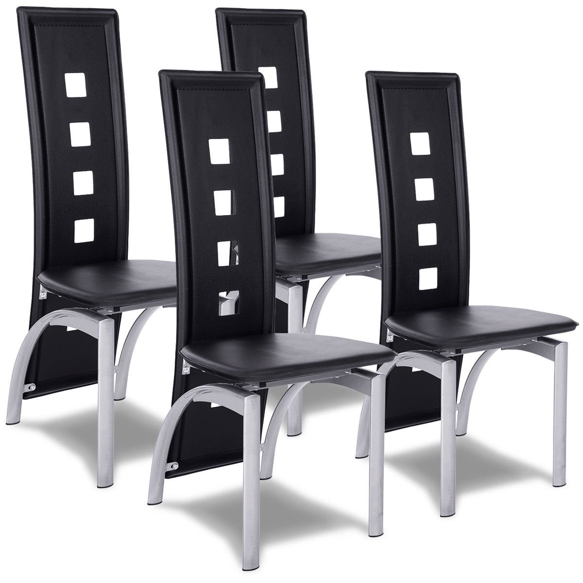 Set Of 4 Modern Dining Chairs High Back Side Chairs Home Kitchen Furniture