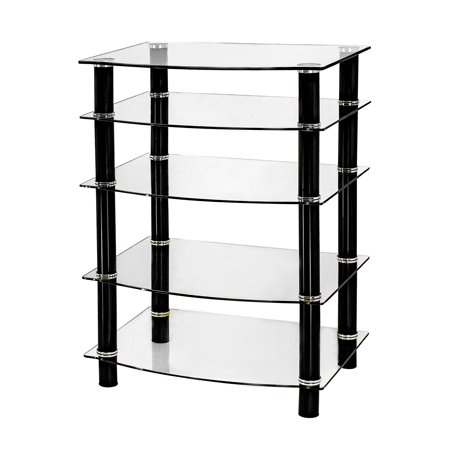 Naomi Home 5 Tier Glass AV Component Media Stand-Color:Black/Clear