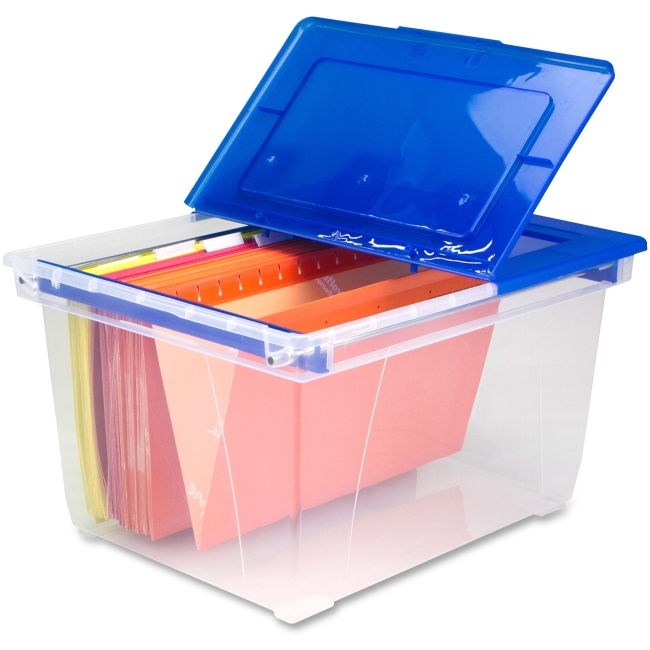 Storex 6pk Heavy Duty File Totes with Steel Rails - Clear with Blue Lid