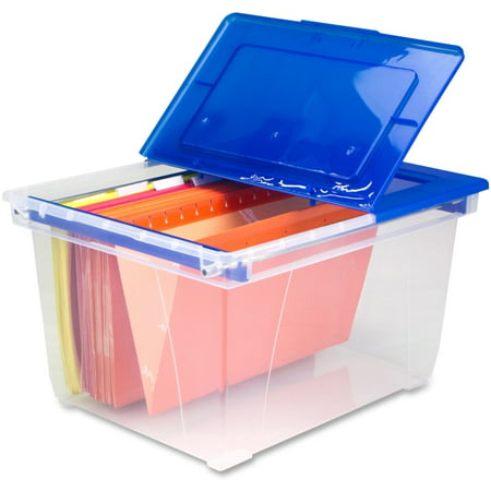 Storex Stackable Heavy-duty File Tote with Steel Rails, Clear/Blue