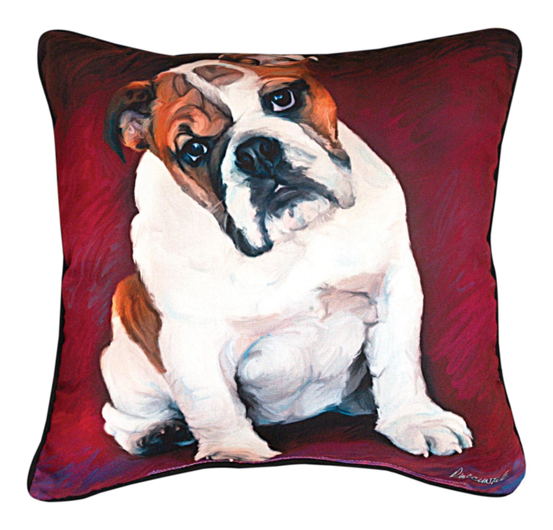 """18"""" Robert McClintock """"Bulldog Baby"""" Square Throw Pillow"""