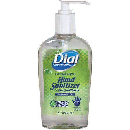 - Dial Professional Antibacterial Hand Sanitizer with Moisturizers, 7.5oz Pump Bottle, 12/Carton