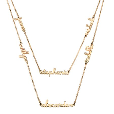 Personalized Women's 1 to 6 Petite Script Name Layered Necklace, in Sterling Silver or Gold over Sterling (Name Necklace Gold)