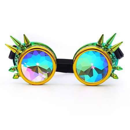 C.F.GOGGLE Fation Rainbow Steampunk Goggles Rivet Laser Kaleidoscope Glasses Halloween Role Playing Round Glass Crystal Lens Silver Black Pink (Halloween Goggles)