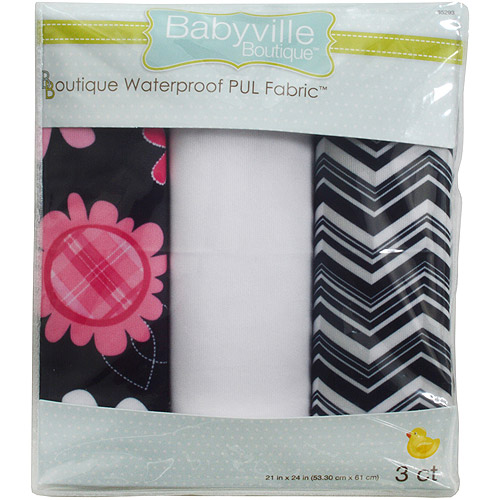 "Babyville PUL Waterproof Diaper Fabric, 21"" x 24"" Cuts, 3-Pack, Black Chevron and Pink Floral"