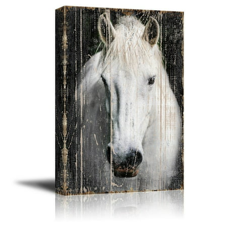 wall26 - Canvas Print Wall Art - Head of a White Horse on Rustic Style Wood Background - Gallery Wrap Modern Home Decor | Ready to Hang - 32x48