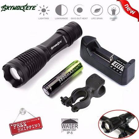 ... skywolfeye flashlight, ama(tm) 5000lm xm-l t6 led 5 modes zoomable