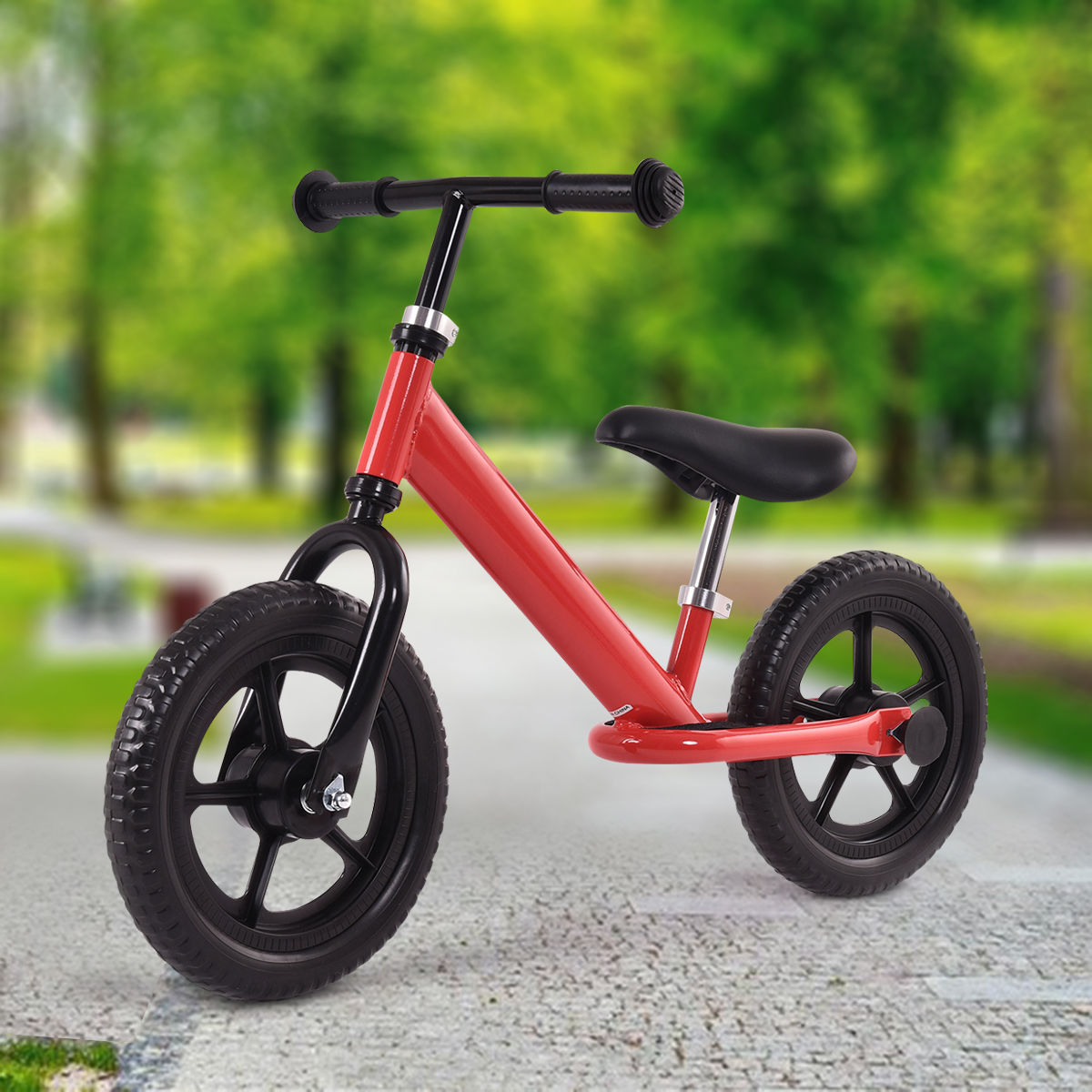 "GHP Red 12"" Wheel Foam Tire 66Lbs Capacity Kids Balance Bike with Adjustable Seat"