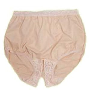 Options Split Lace Crotch With Built In Barrier Support  Soft Pink  Right Side Stoma  Large 8 9  Hips 41   45