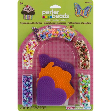 Beads Cupcakes and Butterflies Fused Bead Kit, Includes 2000 beads, small heart, butterfly, and cupcake pegboards, ironing paper, and.., By